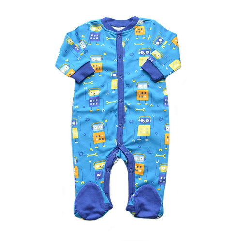 Organic Cotton Baby Footed Jumpsuit Robot