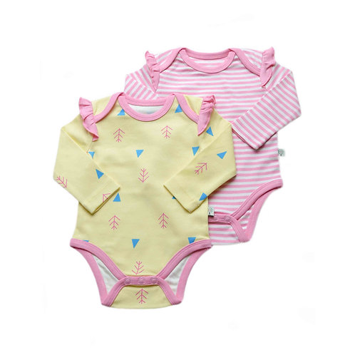 Organic Cotton Baby Bodysuit 2-Pack Long Sleeve Nature