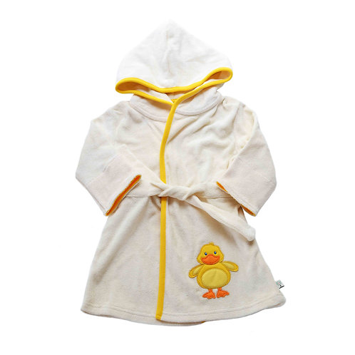 Organic cotton bathrobe with duck embroidery