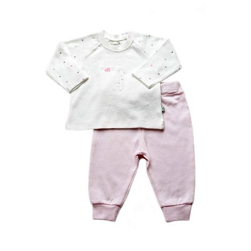 Organic cotton pyjama set with giraffe embroidery