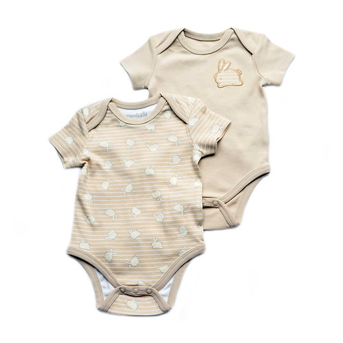 Organic Cotton Baby Bodysuit 2-Pack Bunny