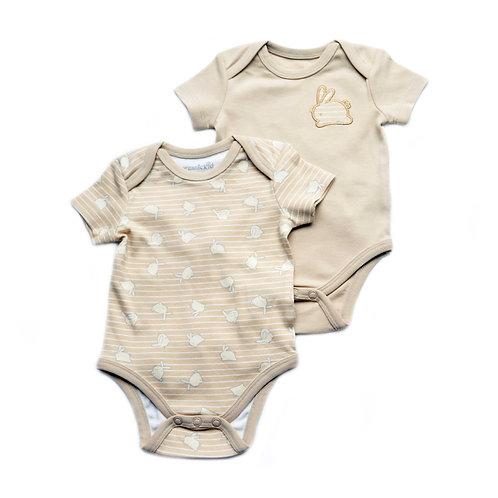 Confezione da 2 body per neonato in cotone biologico coniglietto