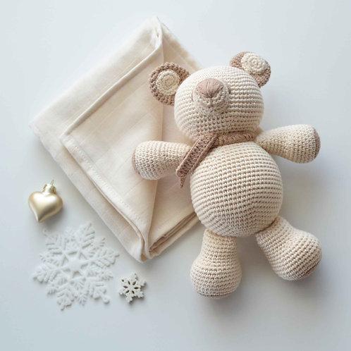 Organic Cotton Amigurumi Toy Bear & Muslin Blanket Set