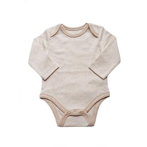 Organic Cotton Baby Bodysuit Long Sleeve Biscuit