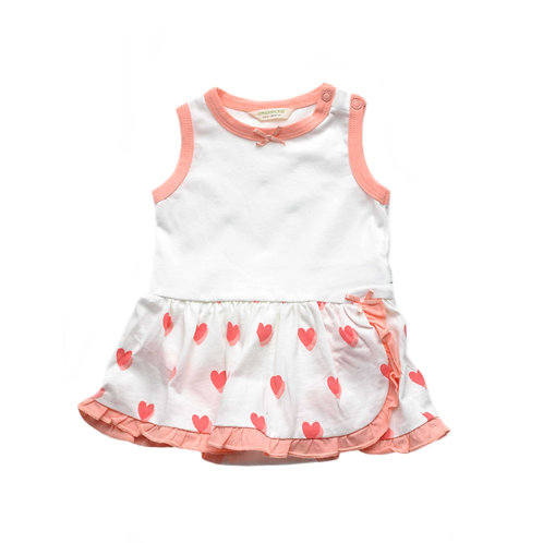 Organic Cotton Baby Bodysuit with Skirt Hearts