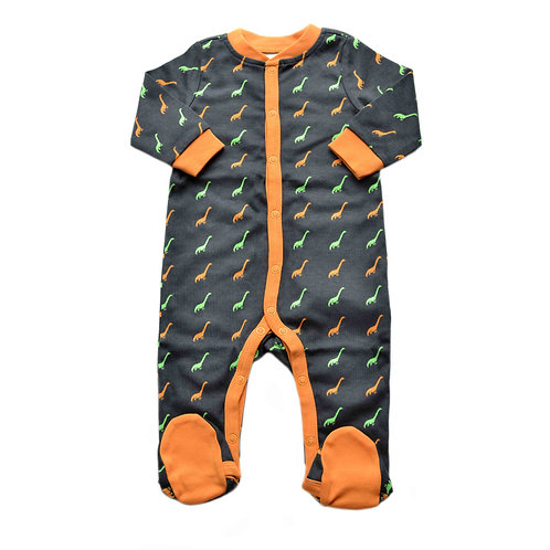 Organic Cotton Baby Footed Jumpsuit Dinosaur