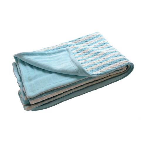 Organic cotton velvet blanket (blue)