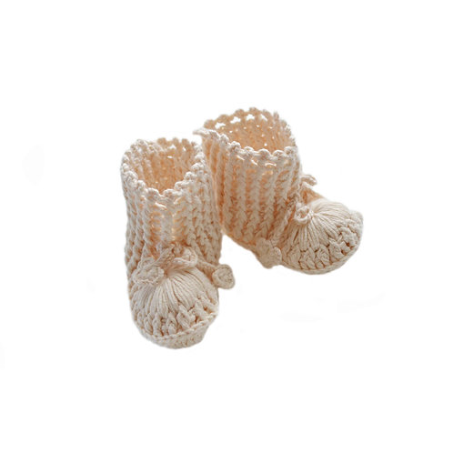 Organic cotton handmade crochet Ivy baby shoes
