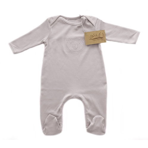 Organic cotton baby jumpsuit bear embroidery gray