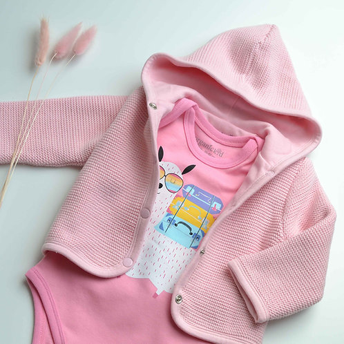 Organic Cotton Baby Cardigan & Cool Llama Body Set