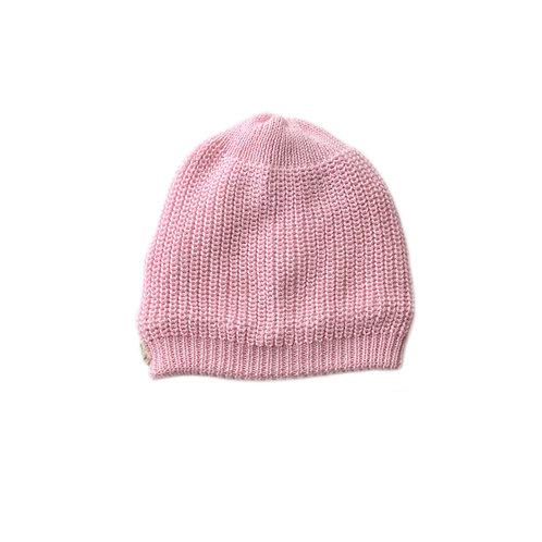 Organic cotton hand knit beanie pink