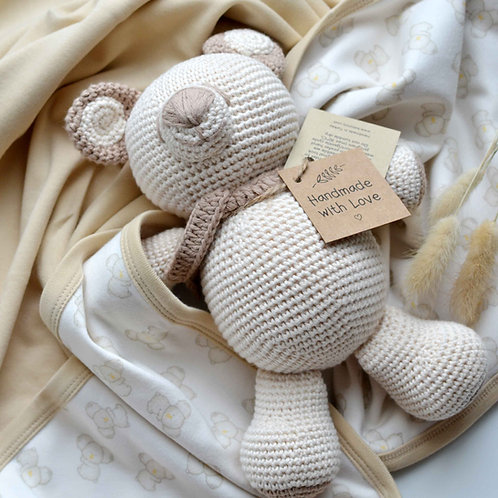 Organic Cotton Baby Blanket  & Amigurumi Toy Bear
