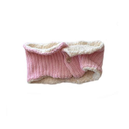 Organic cotton hand knit neck warmer pink