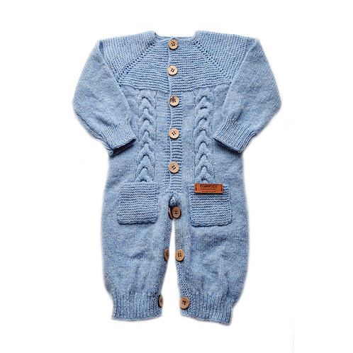 Organic Merino Wool Hand Knit Baby Jumpsuit Blue