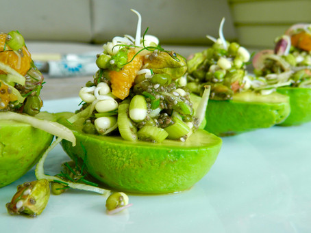 Fennel Stuffed Avocado with Mung Bean Sprouts
