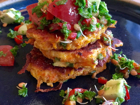Pumpkin & Goat's Feta Fritters with Sprouted Lentil Salsa - The Veggie Tree