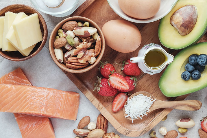 Nutrition Package with Strawberries, Nuts, Eggs, Blueberries, cheese, coconut, salmon, and avocado
