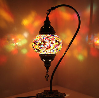Multicolour Swan Neck Table Lamp with Small Beads