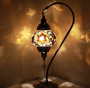 Brown Colour Swan Neck Table Lamp
