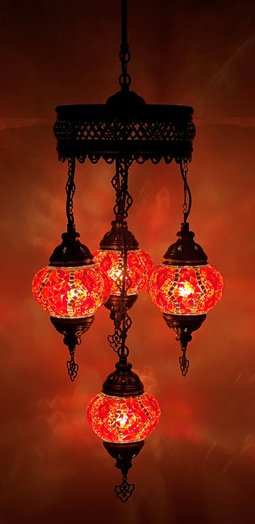 Turkish Chandelier in Red Colour with Spiral Design