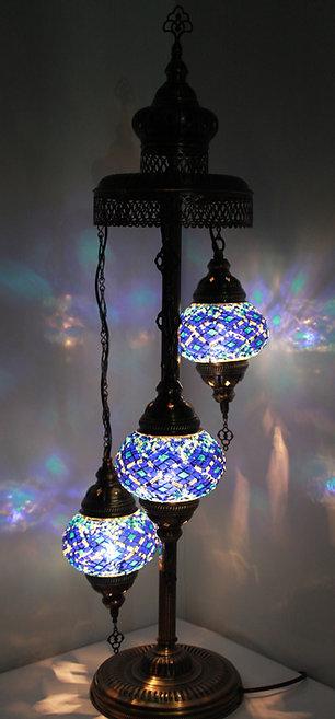 Blue Colour 3 Glass Floor Lamp