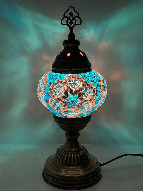 Light Blue Turkish Moroccan Table Lamp