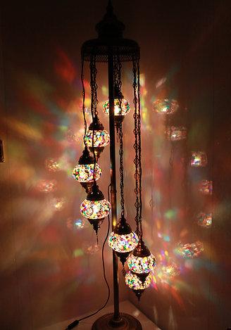 Multicolour 7 Glass Floor Lamp