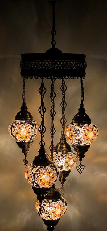 Turkish Chandelier in Brown Colour with 5 Glass