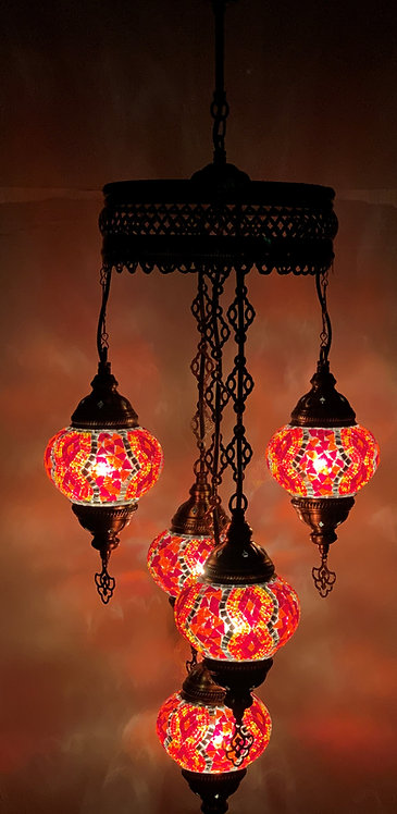Turkish Chandelier in Red Colour 5 Glass