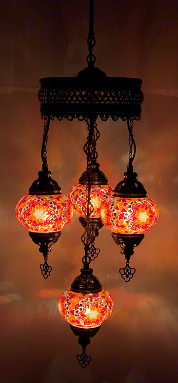 Turkish Chandelier in Red Colour with Star Design
