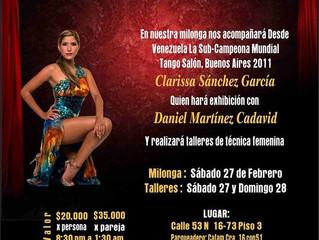 Clarissa Sánchez en nuestra Milonga Pura Estampa.