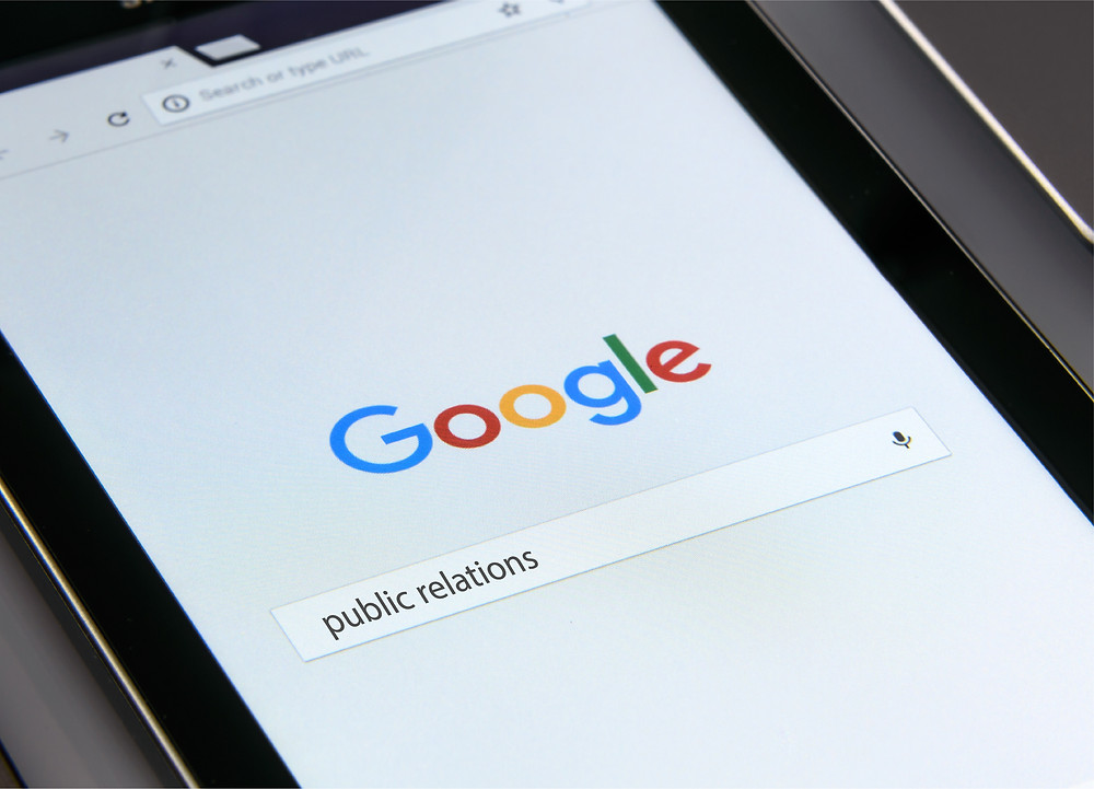 Google search of the word public relations
