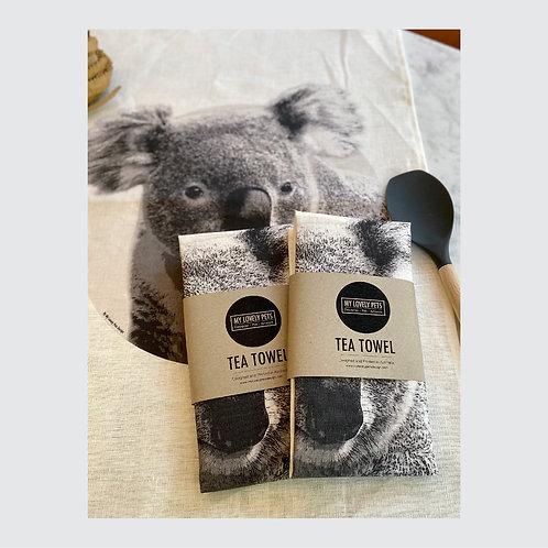 Koala Tea Towel, Australian Animal Linen Tea Towel