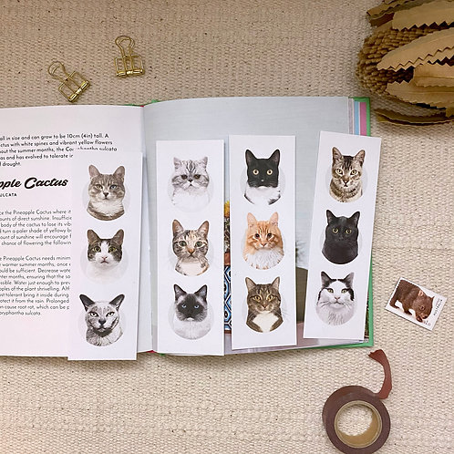 Pack of 4 Mixed Cat Lover, Eco Friendly Recycled Bookmarks