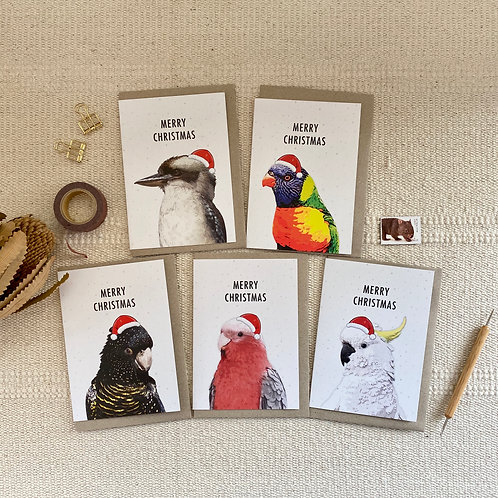Pack of 5 Mixed Australian Bird Christmas Cards, Pack A