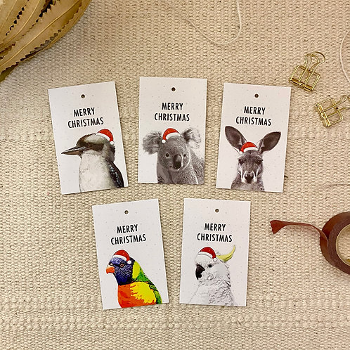 Christmas Gift Tags, Pack of 10, Australian Animals