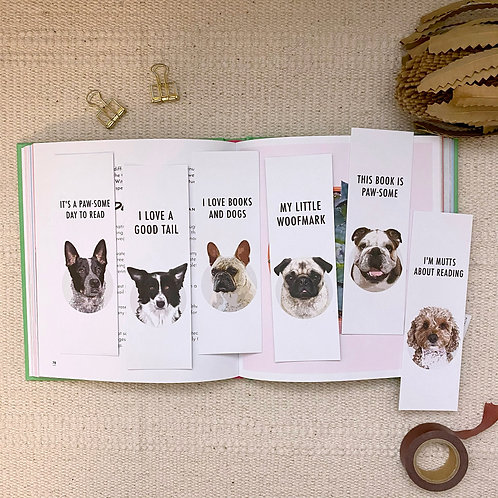Pack of 6 Mixed Dog Lover, Eco Friendly Recycled Bookmarks