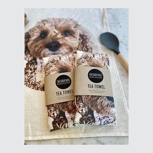 Cavoodle Tea Towel, Dog Lover Linen Tea Towel, Australian Made