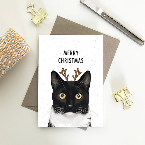 Black & White Cat with Deer Head Merry Christmas Card