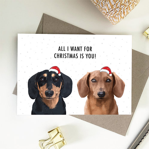Wholesale 6 of - Dachshund All I Want For Christmas Is You Card