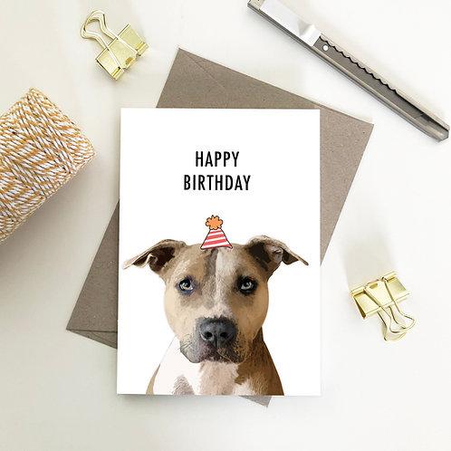 Wholesale 6 of - Happy Birthday Staffy Card