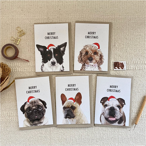Dog, Pack of 5 Mixed Dog Christmas Cards, Dog Lovers