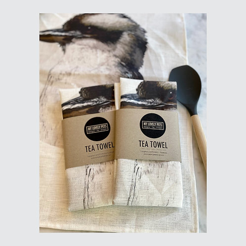 Kookaburra Tea Towel, Australian Animal Linen Tea Towel