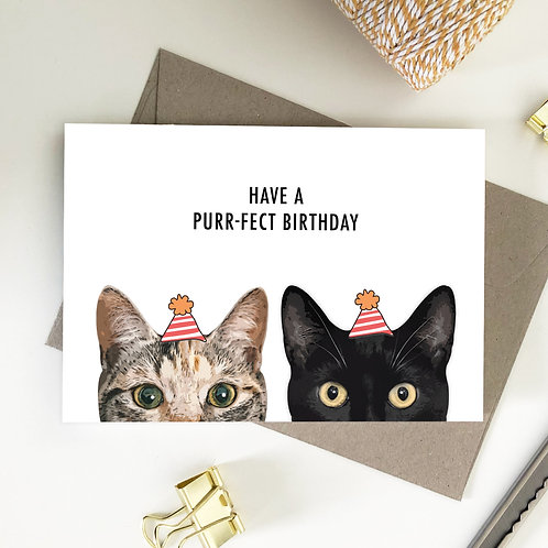Wholesale 6 of - Have a Purrfect Birthday Half Face Cats Card