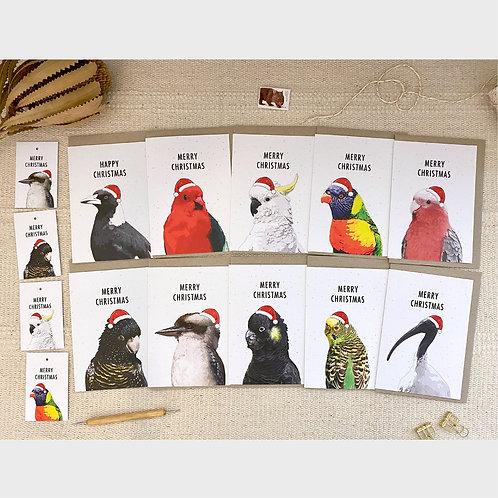 Australian Bird Pack of 10 Mixed Christmas Cards Plus Bonus 6 Christmas Tags