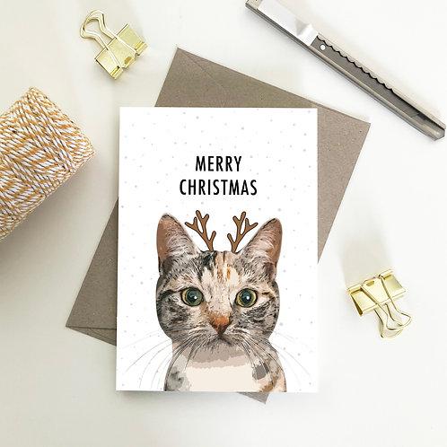 Domestic Shorthair Cat with Deer Head Merry Christmas Card