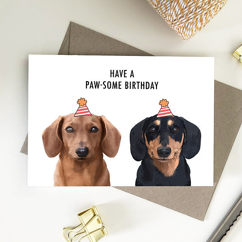 Wholesale 6 of - Dachshund Have a Paw-Some Birthday Card
