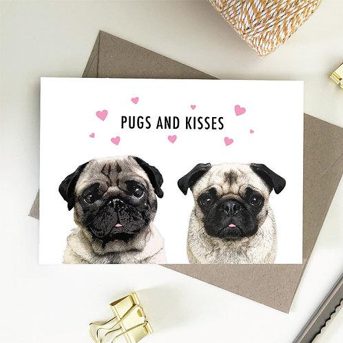 Pugs And Kisses Card, Pug Love Card