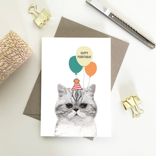 Wholesale 6 of - Happy Purrthday Exotic Shorthair with balloons Cards