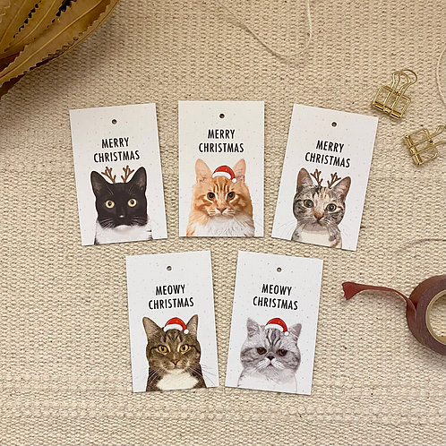 Christmas Gift Tags, Pack of 10, Cat Lover